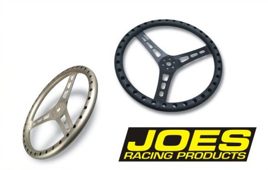 Joes Racing Products 13533-B 13 Black Aluminum LW Flat Steering Wheel